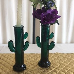 Glass cactus candle holder or vase